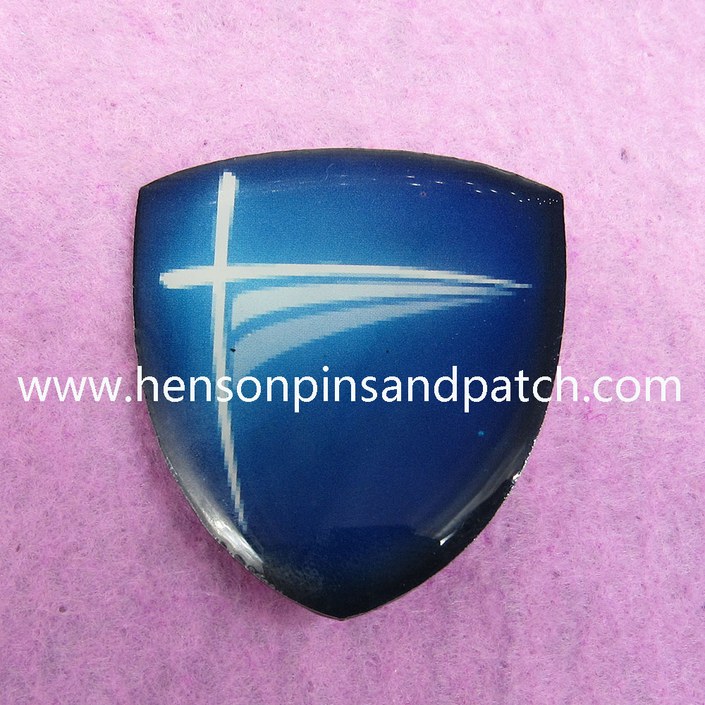 Customized pin badge stainless steel printed shield shaped pin badge for duck blue simple style