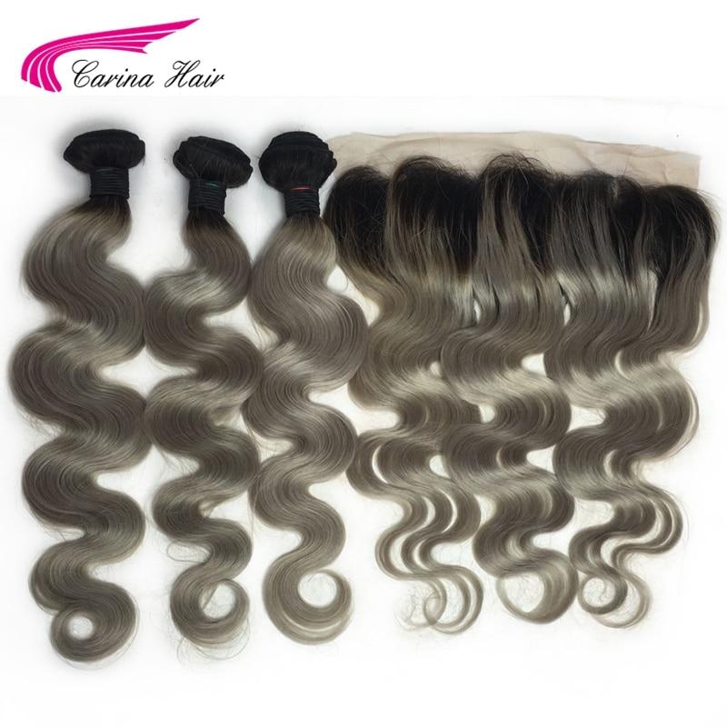 Carina Remy Cheveux Ombre Gris Couleur Cheveux Trames 3 Faisceau avec 13*4 Dentelle Frontale 1b #/Gris cheveux Bundles avec Oreille à Oreille Frontale