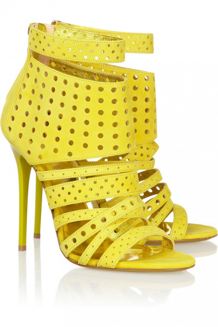 ФОТО New 2017 Bright Yellow Color Gladiator Sandals Women High Heels Summer Zipper Hollow Out Open Toe Woman Shoes Feminino Female