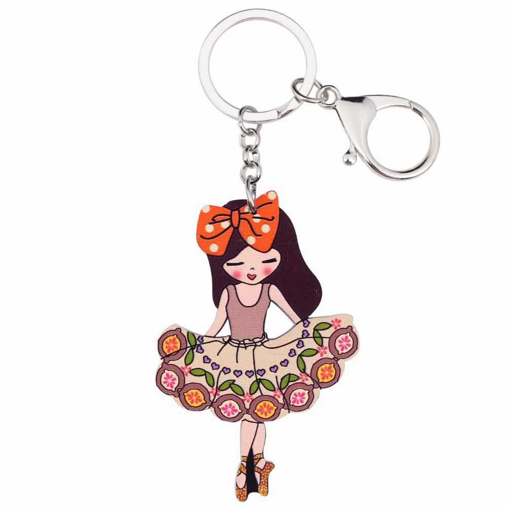... Bonsny Acrylic Ballet Dancer Girls Jewelry Key Chains Keyrings For Women  Teen Bag Driving Car Key ... 13655609e33a