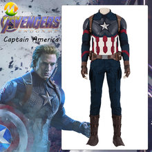 Avengers Endgame Captain America Cosplay Costume Avengers 4 Steven Roger Cosplay Outfit Halloween Party Mask Vest Full Set(China)