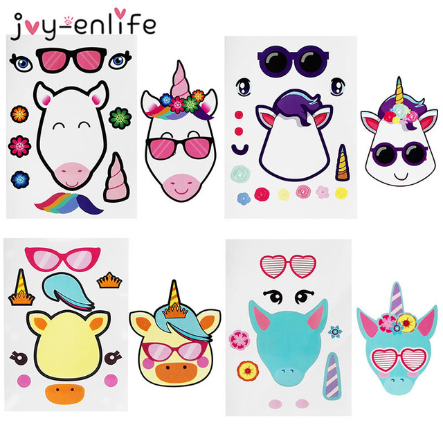 JOY ENLIFE 4pcs DIY Unicorn Party Favors Make A Stickers Kids Birthday Gifts Creative Craft Project Games