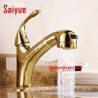 Placcatura in oro pull out bagno rubinetto per il lavaggio e salon bacino lavello miscelatore rubinetto torneira box