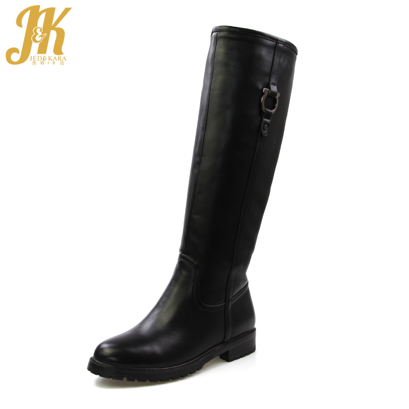J&K 2017 Warm 650g Thick Plush Knee Boots Women Fashion Metallic Winter Boots Female Chunky Heels Footwear High Quality Boots
