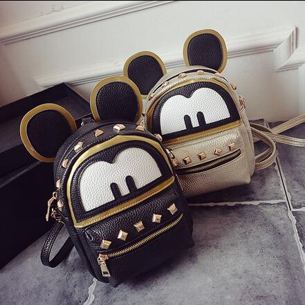 Mickey backpack Fashion new bags High quality PU leather Women bag Cute Minnie Big Ear Parent-child shoulder Female bag mochila women fashion high quality small travel bags lady cute black pu leather backpack with solid bag teenager cute backpack