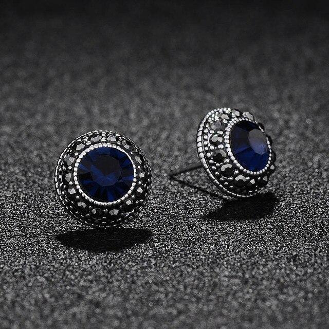 KaiMei Gong(KaiMei Gong) fashion charming Round Gray Rhinestones Simple  crystal Stud Earrings For Women personality jewelry 615efb279e7f