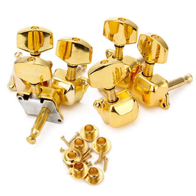 Acoustic Guitar String Semiclosed Tuning Pegs Tuners Keys Machine Heads 3L3R Drop ship a set chrome sealed gear tuning pegs machine heads tuners for guitar with black big square wood texture buttons