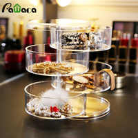 Transparent 360 Degrees Rotary Multilayer Jewelry Storage Box Holder Earpin Earrings Small Objects Organizer Plastic Jewelry Box