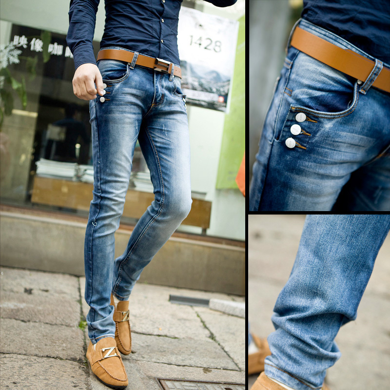 Men's casual wear tight jeans 2015 new designer denim button tide ...