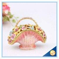 Floral Design Basket Jewelry Box Assorted Flowers Enameled Trinket Basket Treasure Box