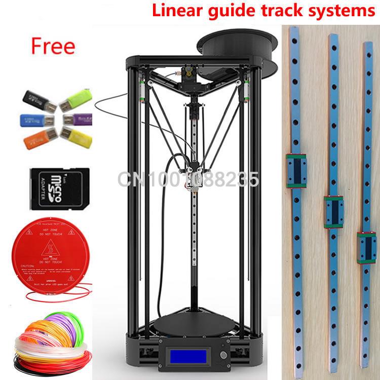 LINEAR GUIDE with heated bed black gold framework LCD Display Reprap Delta Rostock k800 DIY Kit Mini kossel 3D Printer kit