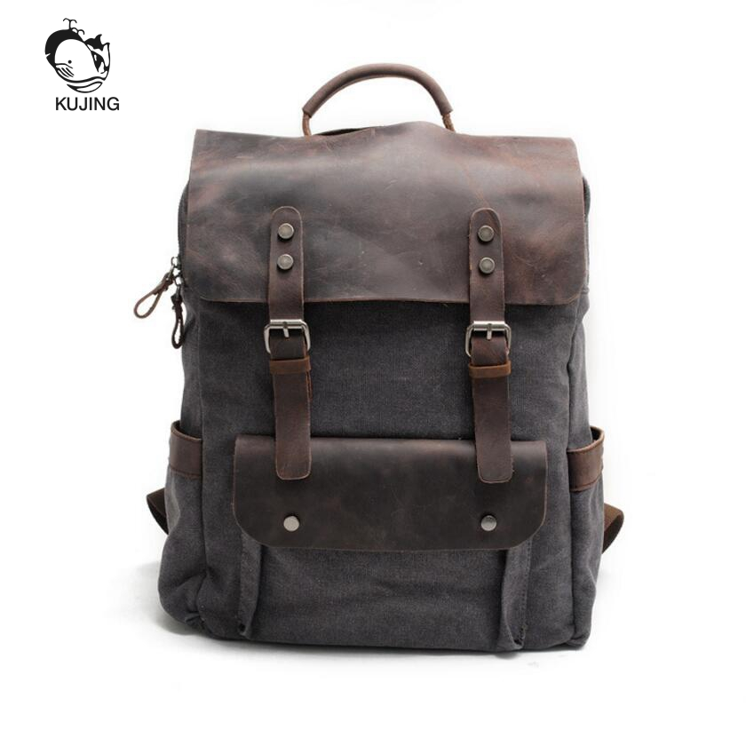 KUJING Leather Men And Women Backpack Luxury Retro Large Capacity Student Bag High School Canvas Travel Casual Youth Backpack kujing canvas men s bag high quality cowboy large capacity travel men handbag retro shoulder messenger bag luxury men casual bag