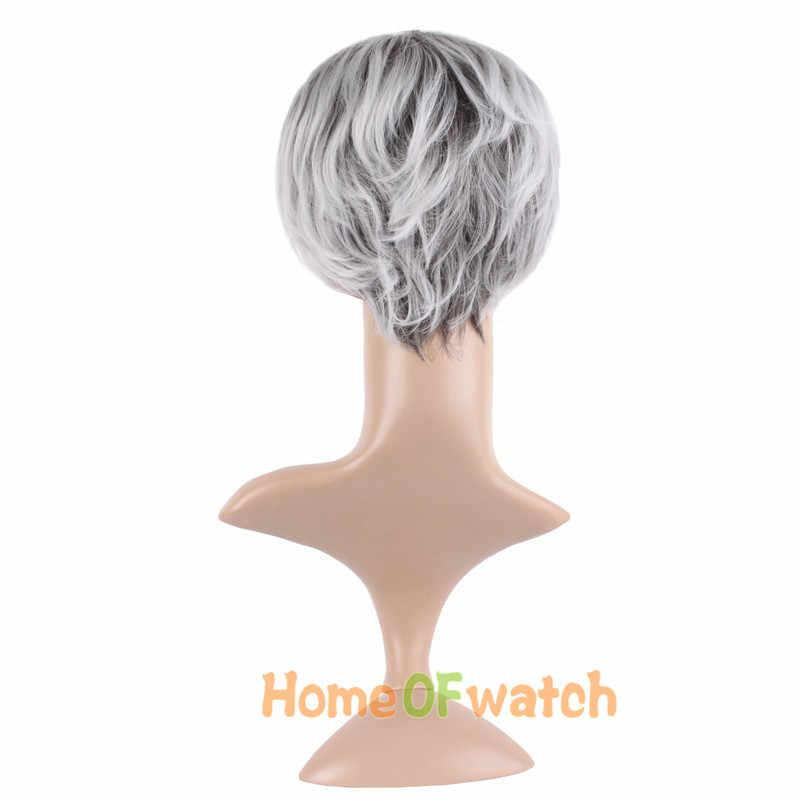 """MapofBeauty 10 """"Kısa Kıvırcık Doğal Peruk gümüş gri Peruk Kadınlar için Yaşlı Bayanlar Sentetik Günlük Kullanılan Parti saç Isıya dayanıklı"""