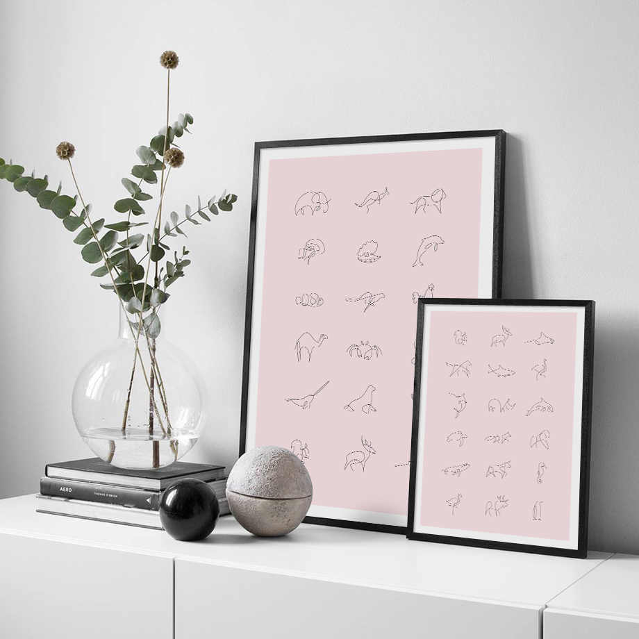 Minimalism Abstract Animal One Line Wall Art Canvas Painting Nordic Posters And Prints Wall Pictures For Living Room Baby Room