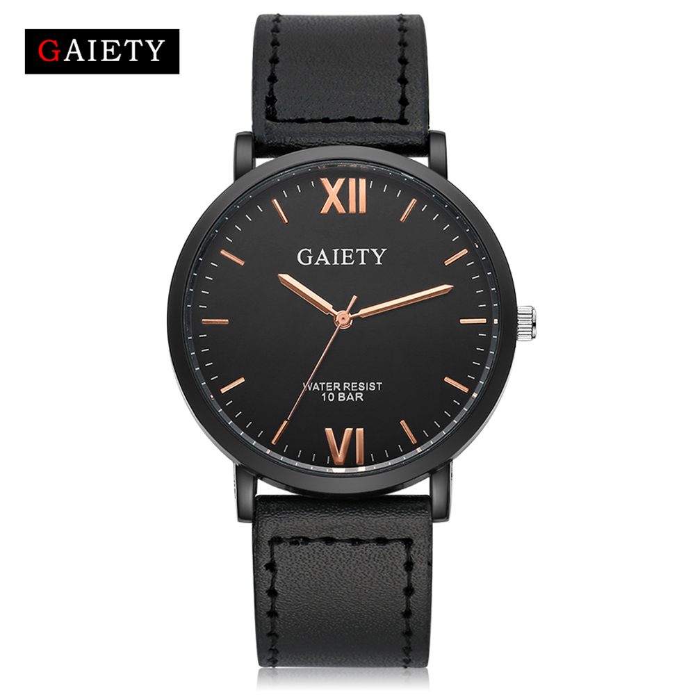 Gaiety Watches Men Stainless Steel Fashion Band Sport Watch Quartz Wristwatch Casual Leather Black Dress Wrist Watch Analog G034 2017 fashion stainless steel leather men s military sport analog quartz wrist watch men square casual watches relogio masculino
