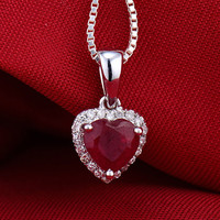 Hot Sell Solid 14K White Gold Diamond Blood Red Ruby Heart Pendant Necklace FREE SHIPPING