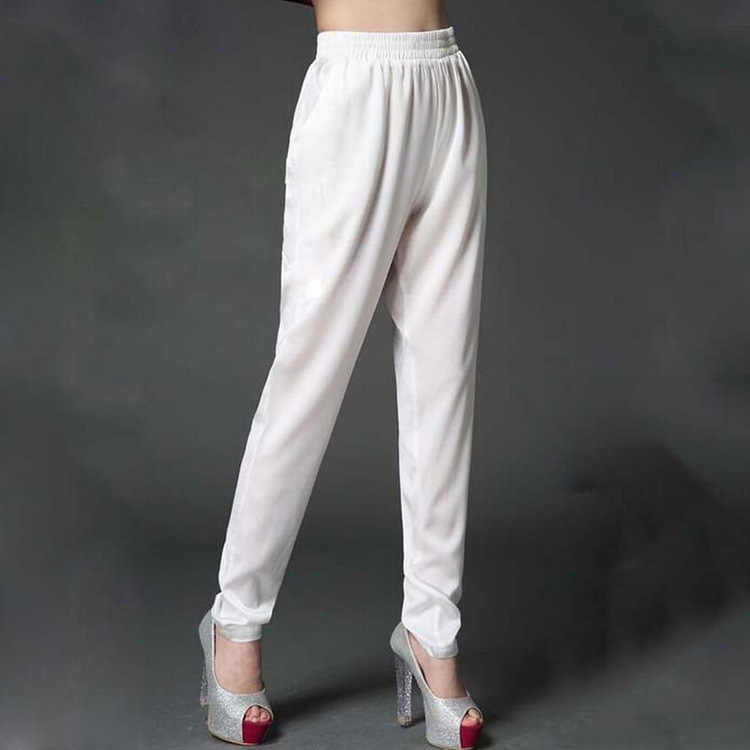 2018 Summer trousers ladies heavy silk pants slim thin large size high waist silk  trousers silk harem pants 0099