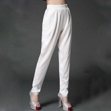 2018 Summer trousers ladies heavy silk pants slim thin large size high waist  harem 0099