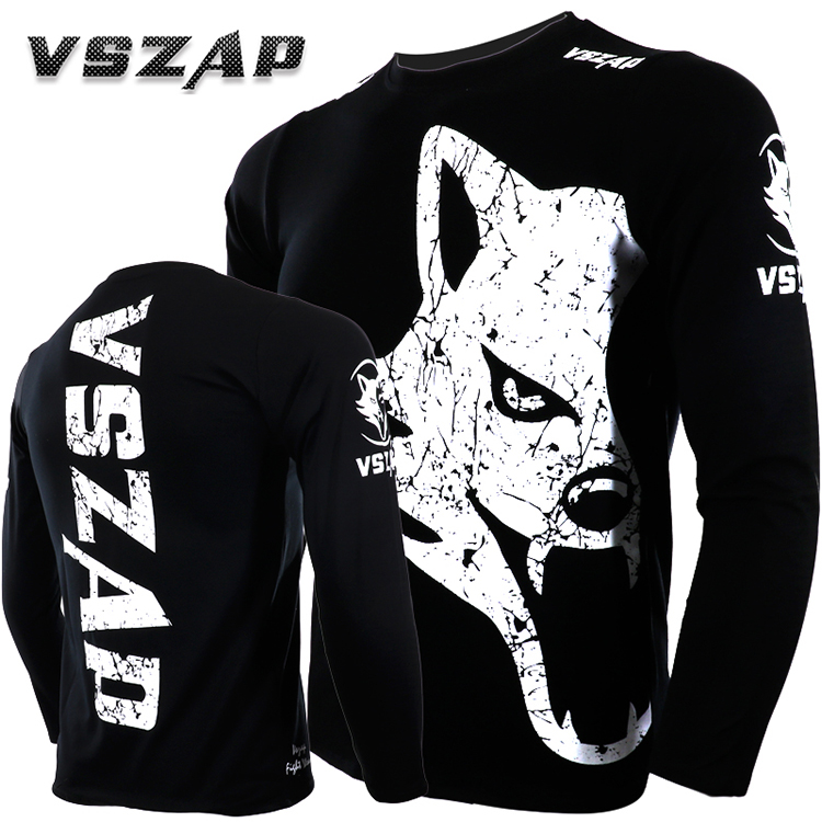 VSZAP  Fitness Long-sleeved T - Shirt Fight Martial Arts Training Martial Arts Boxing Day - Beating Male.