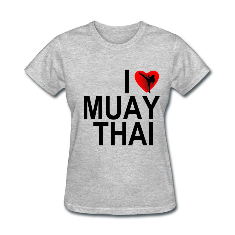 2018 new Natural100% Cotton I Love Muay Thai Funny funny t shirt women the black friday
