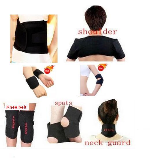 7 par/set turmalina cintura autocalentamiento muñeca cuello rodillera apoyo de tobillo codo del cojín de hombro terapia magnética