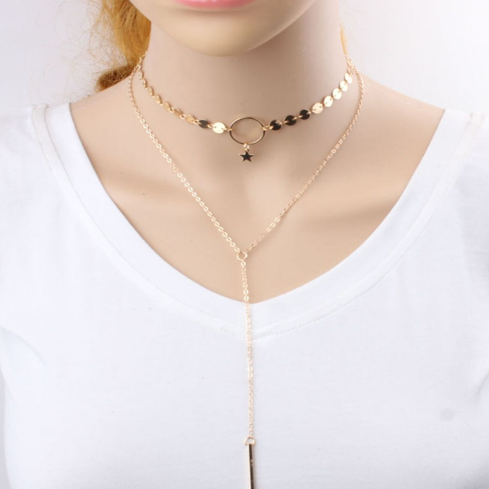Contracted Tiny Clavicle Necklace Beauty Sequins Tassel Star Pendant Chain Necklace Double Layer Choker Collar Jewelry