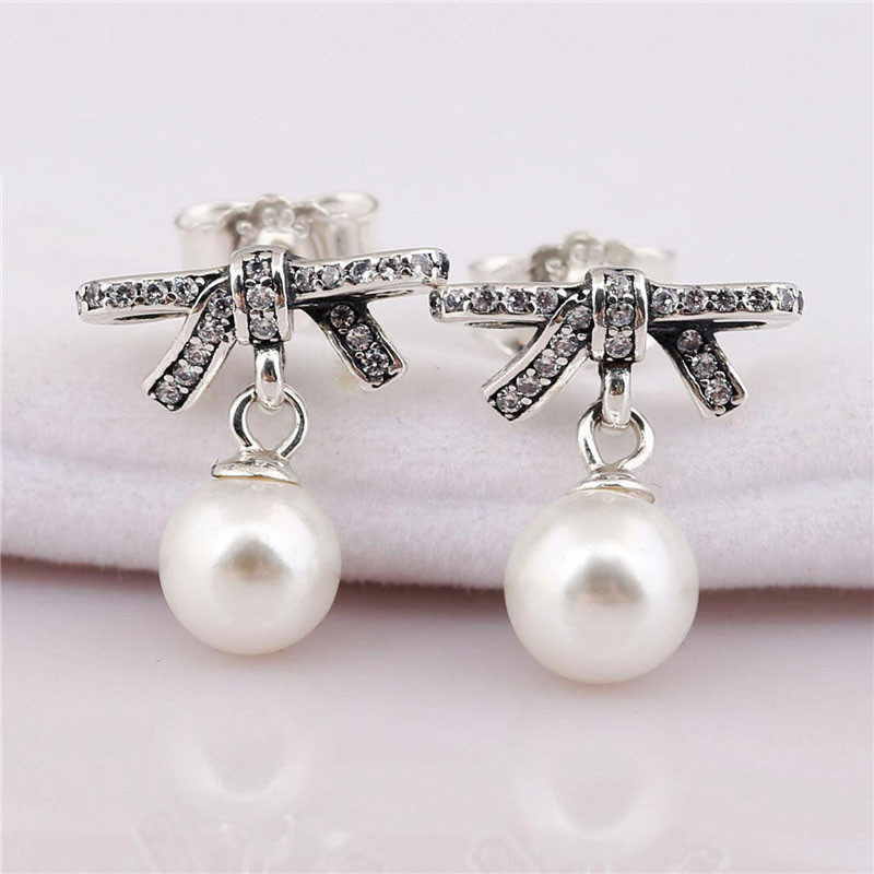 New Fashion 925 Sterling Silver Pans Earrings For Women Sparkling Bow With Pearl Earring Studs Fine Europe Jewelry Lady Gift in Stud Earrings from Jewelry Accessories