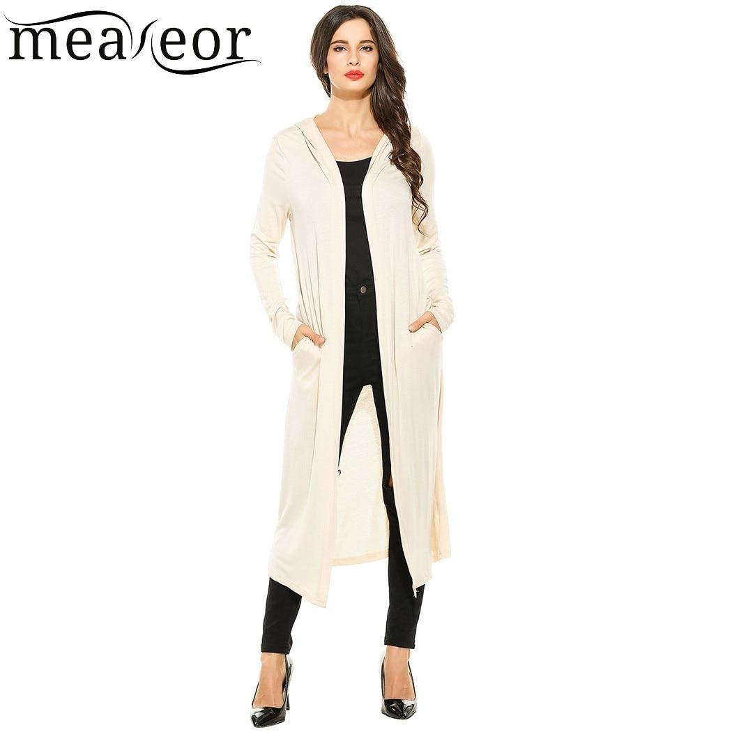 Meaneor Women Cardigan Casual Long Sleeve Mid-Calf Length Solid Pocket 2018 Camiseta Tops Blusa Casaco Spring summer Autumn