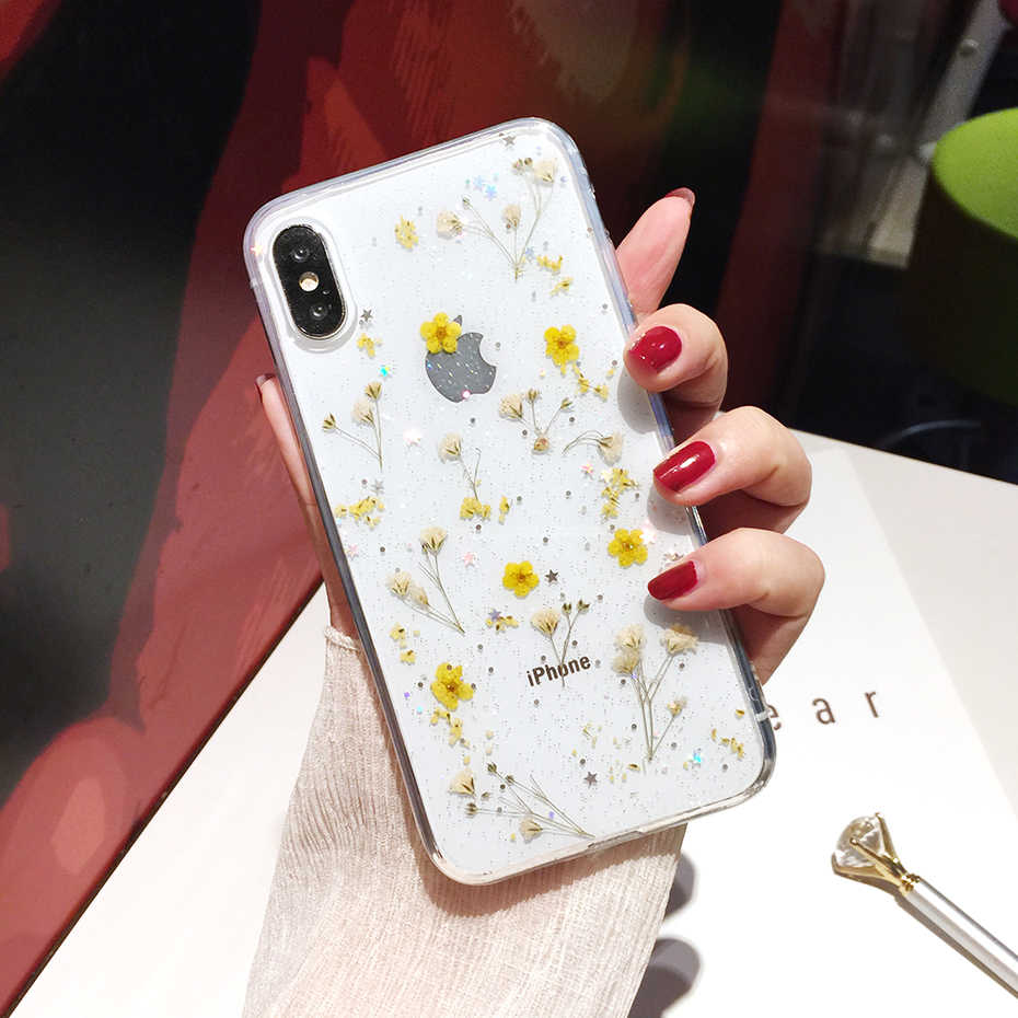 Qianliyao Real Gedroogde Bloemen Transparante Soft Cover Voor iphone X 6 6S 7 8 Plus 11 Pro Max Telefoon case Voor iphone XR XS Max Cover