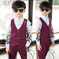 2017 Boys Blazer Suits Autumn Kids Outwear Outfit Suits Vest+Pants Boy Formal Suit for Weddings Casual Solid Child Blazer Set