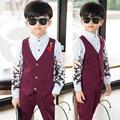 2017 Niños Chaqueta Trajes de Otoño Outwear Niños Trajes Traje de Chaleco + Pantalones Boy Traje Formal para Bodas Sólido Ocasional Niño Conjunto chaqueta