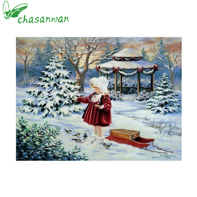 5d round diamond embroidery icon christmas tree decoration with girl diamond painting cross stitch kits - Christmas Tree Decoration Kits
