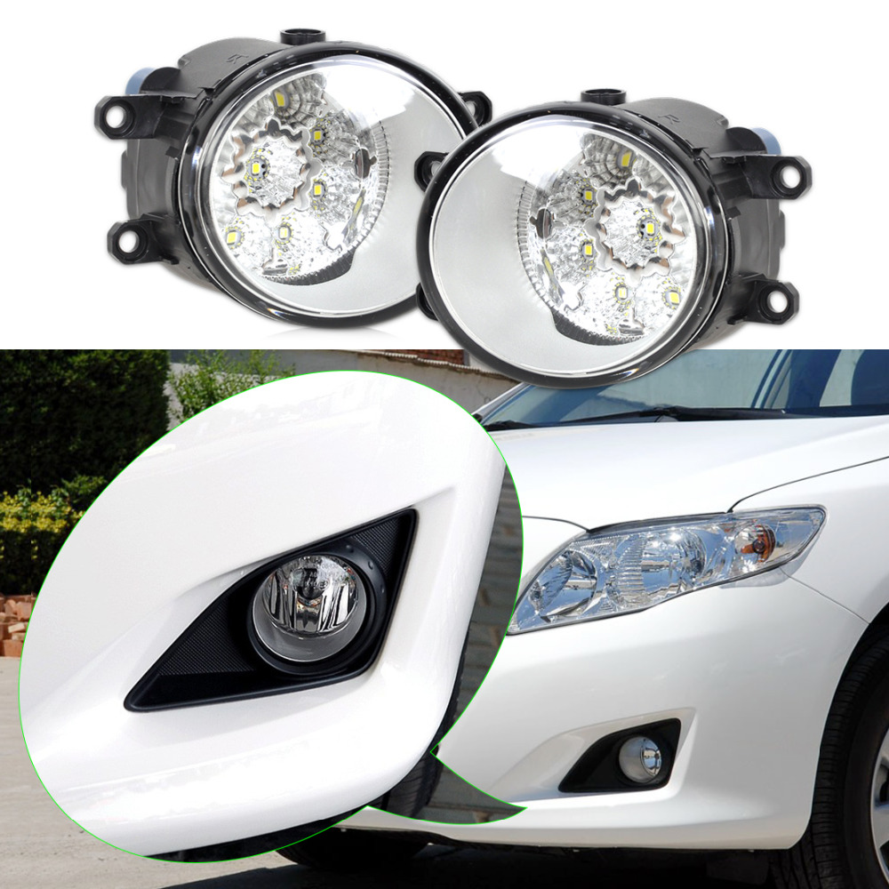 ФОТО New 2pcs 55W 9-LED Round Front Right/Left Fog Light Lamp DRL Daytime Driving Running Lights for Toyota Camry Corolla Yaris Lexus