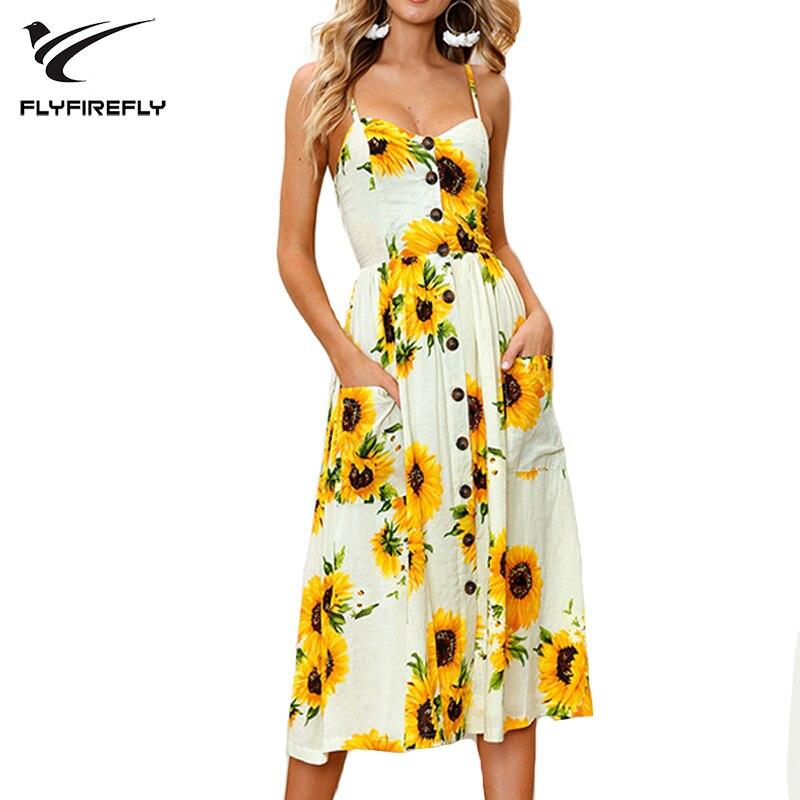 2018 Flower Print Bra Collar Strap Dress Women Sexy