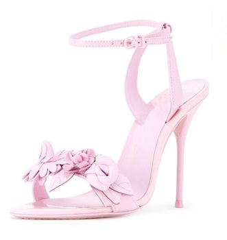 New Arrivals Pink Flower Decor Women Sandals Cut-out Ankle Strap Gladiator Sandals Women Peep Toe High Heel Ladies Dress Shoes