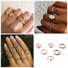 Vintage Gold Sliver Color Rings for Women Finger Moon Star Heart Shape Female Charm Punk Jewelry Wedding Gifts Bijoux