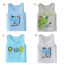 Summer Boys Clothing Sleeveless Cotton Cartoon Vest Baby Vest 1-5T With Cartoon Pattern Comfortable baby tops(China)