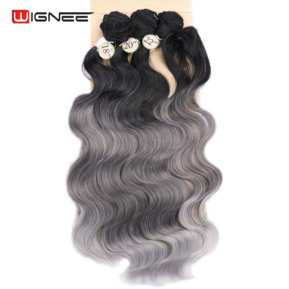 Image 4 - Wignee  Synthetic Hair Extension For Black Women Colorful Hair Bundles With Closure 3 Tone Ombre Color Purple/Blue/Grey HairOne Pack   -