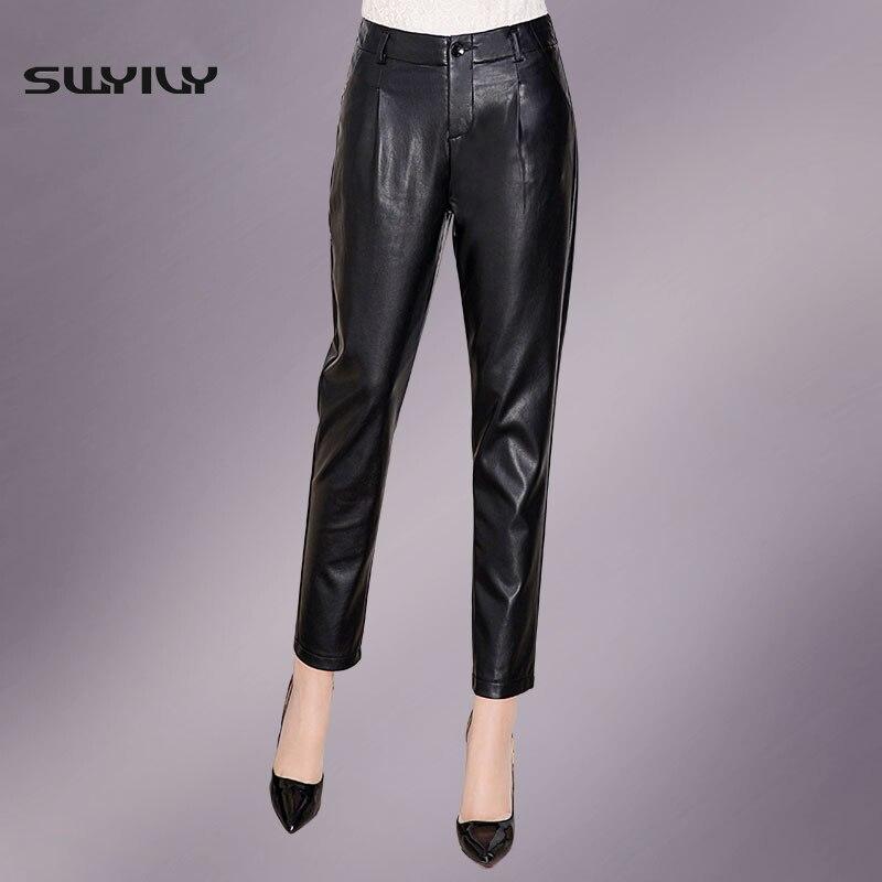 Women Pu Leather Pants Large Size 4Xl Black 2016 Autumn -5946
