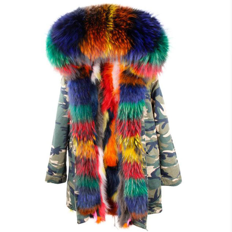 Real Fox Fur Coat Long Women Winter Fur Parka Army Black Raccoon Fur Collar Hooded Jacket Female Warm Fur Camouflage Outwear printed long raccoon fur collar coat women winter real rabbit fur liner hooded jacket women bomber parka female ladies fp896