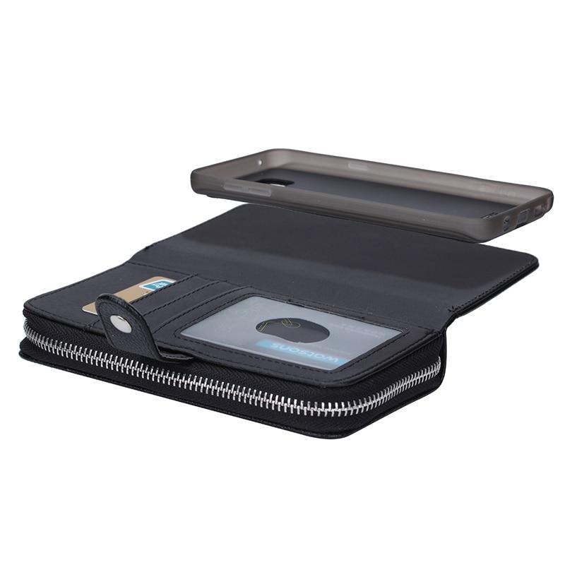 Untuk Samsung S7 Kasus Multifungsi Ritsleting Dompet Kulit Magnetic - Aksesori dan suku cadang ponsel - Foto 3