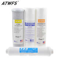 """ATWFS 10"""" Universal PP Sediment / 5 Micron / 1 Micron PP Cotton+CTO Carbon Filter+T33 Reverse Osmosis System UF Water Treatment"""