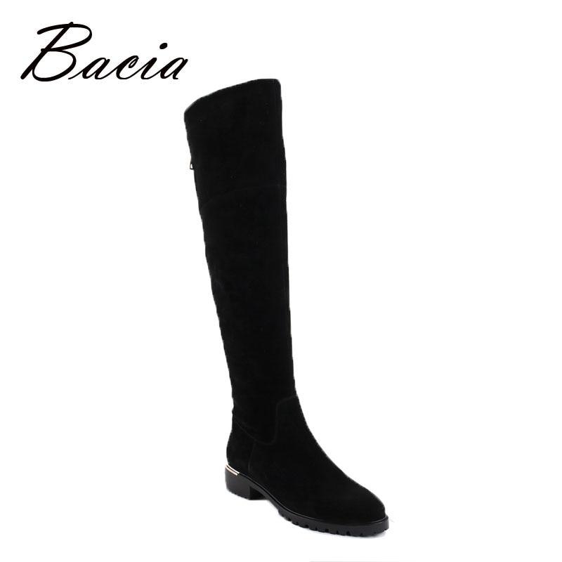 Bacia/модные черные сапоги выше колена, замшевые кожаные сапоги с теплым плюшем ручной работы, высокое качество, классическая женская обувь