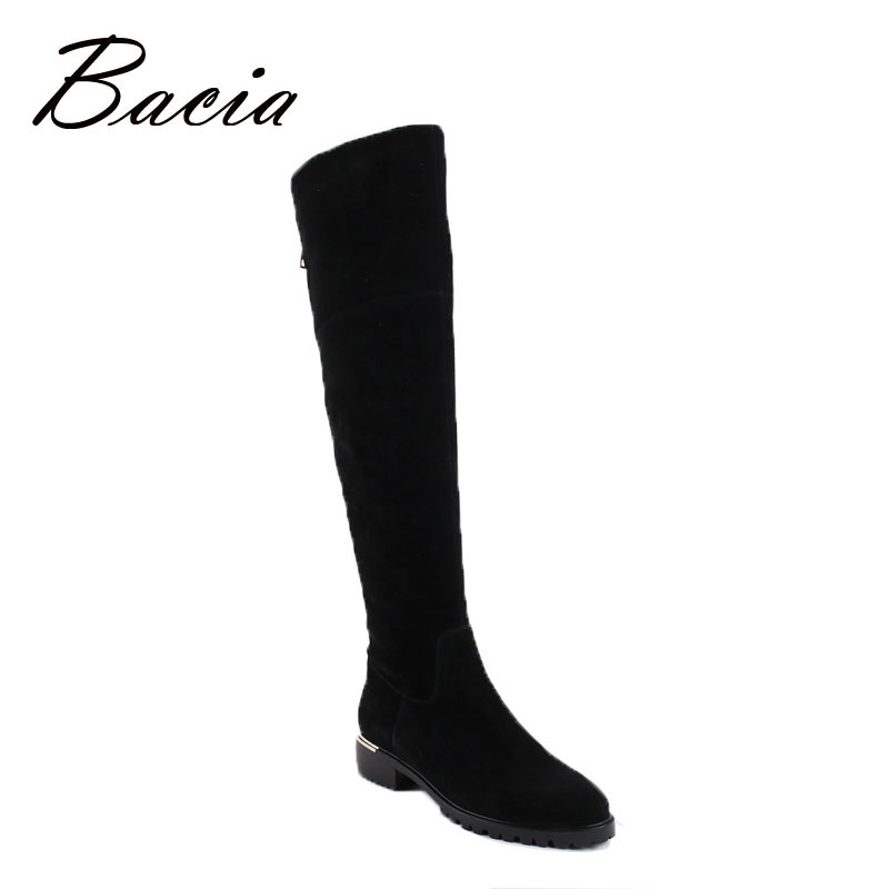 Bacia Fashion Black Over Knee Boots Suede Leather Boots With Warm Plush Handmade High Quality Classical