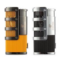 COHIBA зажигалка для сигар бутан 3 фонарь струйная зажигалка с резак для сигар удар аксессуары ветрозащитный прикуриватель подарочная коробка