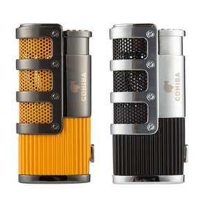 COHIBA Cigar Lighter Punch-Accessories Butane 3-Torch Gift-Box Windproof Jet