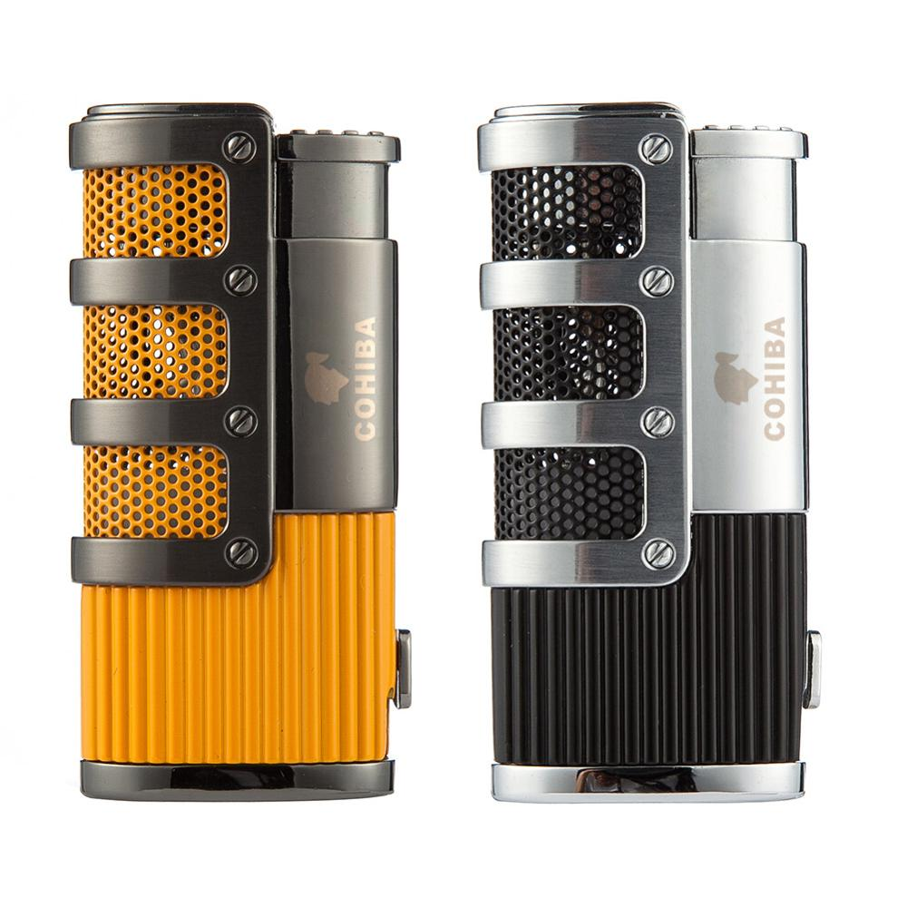 COHIBA Cigar Lighter Butane 3 Torch Jet Flame Lighter With Cigars Cutter Punch Accessories Windproof Cigarette Lighter Gift Box