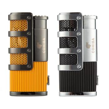 COHIBA Cigar Lighter Butane 3 Torch Jet Flame Lighter With Cigars Cutter Punch Accessories Windproof Cigarette Lighter Gift Box cohiba cigar lighters gas cigarette lighter 3 torch cigar accessory with gift box