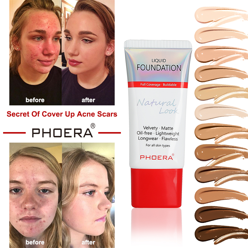 PHOERA Foundation 30ml Mineral Touch Oil Control Skin-Friendly Liquid Foundation Makeup Full Coverage 24 Hour Long Lasting TSLM1 image