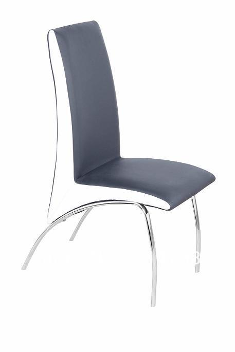 Leather chair chromed legs metal dining chair in dining for Leather dining chairs with metal legs
